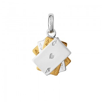 Links Of London Sterling Silver & 18kt Yellow Gold Vermeil Poker Cards Charm