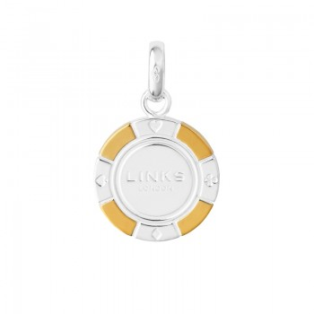 Links Of London Sterling Silver & 18kt Yellow Gold Vermeil Poker Chip Charm