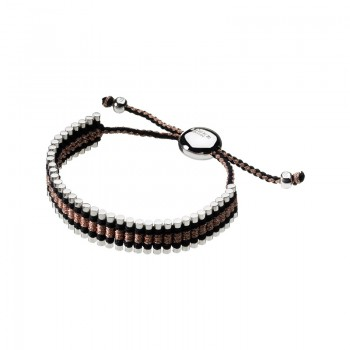 Links Of London Sterling Silver & Black, Copper Cord Friendship Bracelet
