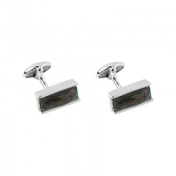 Links Of London Sterling Silver Black Mother of Pearl Double Cufflinks