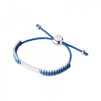 Links Of London Sterling Silver & Blue Cord Baby Friendship ID Bracelet