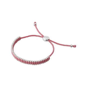 Links Of London Sterling Silver & Dusky Pink Cord Mini Friendship Bracelet