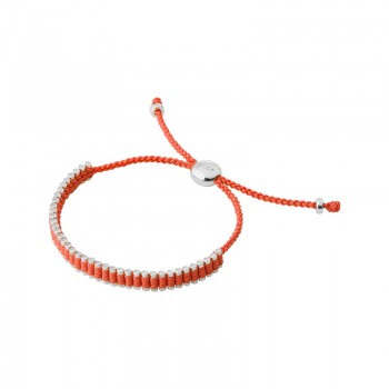 Links Of London Sterling Silver & Orange Cord Mini Friendship Bracelet