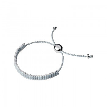 Links Of London Sterling Silver & Pale Blue Pewter Cord Mini Friendship Bracelet