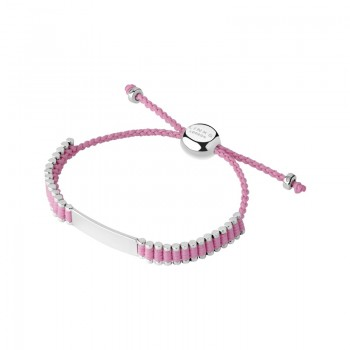 Links Of London Sterling Silver & Pink Cord Baby Friendship ID Bracelet