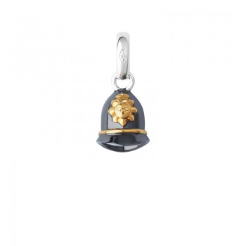 Links Of London Sterling Silver, Ruthenium & 18kt Yellow Gold Vermeil Police Helmet Charm