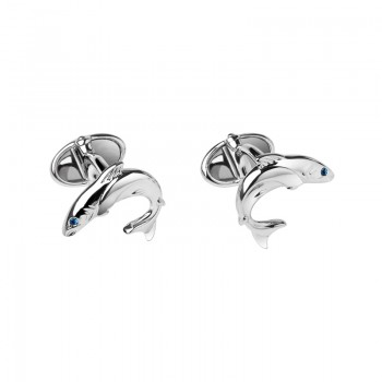 Links Of London Sterling Silver & Sapphire Heritage Salmon Cufflinks