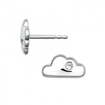 Links Of London Sterling Silver & White Sapphire Cloud Stud Earrings
