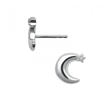 Links Of London Sterling Silver & White Sapphire Over the Moon Stud Earrings