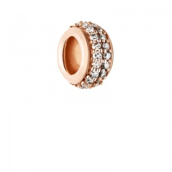 Links Of London Sweetie 18kt Rose Gold Vermeil & Champagne Diamond Pave Bead