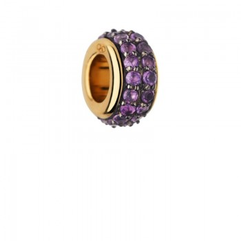 Links Of London Sweetie 18kt Yellow Gold Vermeil & Amethyst Pave Bead