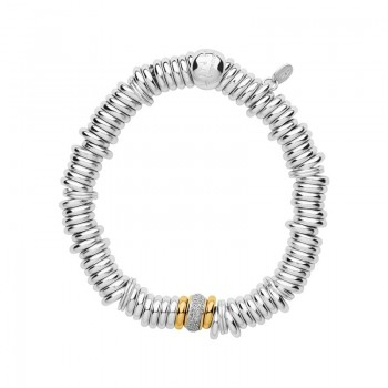 Links Of London Sweetie Sterling Silver & Diamond Pave Yellow Gold Bead Bracelet