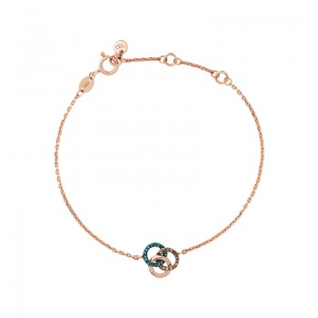 Links Of London Treasured 18kt Rose Gold Vermeil, Champagne & Blue Diamond Bracelet
