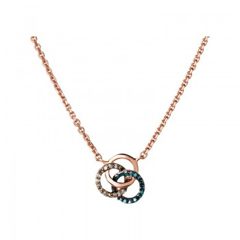 Links Of London Treasured 18kt Rose Gold Vermeil, Champagne & Blue Diamond Necklace