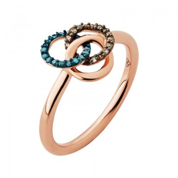 Links Of London Treasured 18kt Rose Gold Vermeil, Champagne & Blue Diamond Ring