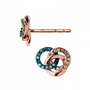 Links Of London Treasured 18kt Rose Gold Vermeil, Champagne & Blue Diamond Stud Earrings