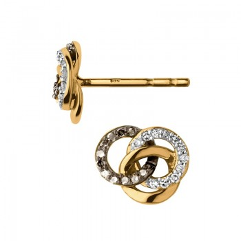 Links Of London Treasured 18kt Yellow Gold Vermeil, Champagne & White Diamond Stud Earrings