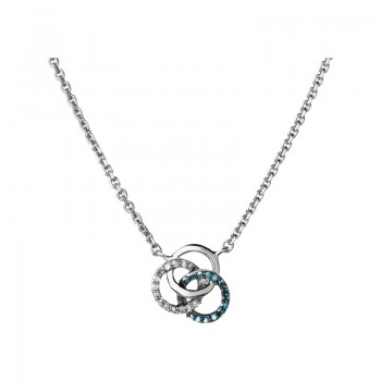 Links Of London Treasured Sterling Silver, White & Blue Diamond Necklace
