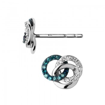 Links Of London Treasured Sterling Silver, White & Blue Diamond Stud Earrings