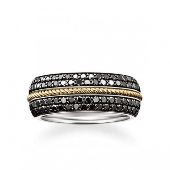 Thomas Sabo band ring black diamond Women Rings J_TR0028-723-11