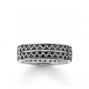 Thomas Sabo band ring black zig zag Women Rings TR2051-643-11