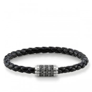 Thomas Sabo leather strap black zig zag Women Bracelets UB0004-820-11