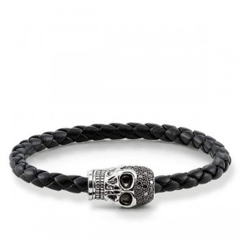 Thomas Sabo leather strap skull pavé Men Bracelets UB0017-820-11