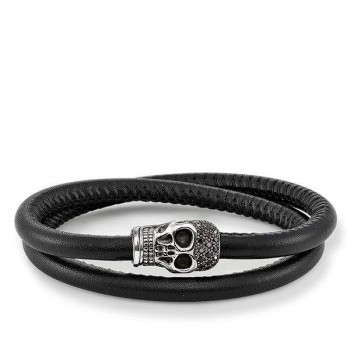 Thomas Sabo leather strap skull pavé Women Bracelets UB0009-835-11