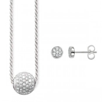Thomas Sabo Necklace & Ear studs White pavé Women Necklaces SET0234-051-14