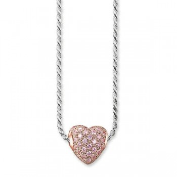 Thomas Sabo necklace hot pink heart pavé Women Necklaces KT0088-416-9