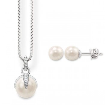 Thomas Sabo Pearl Necklace & Pearl Ear studs Women Necklaces SET0233-167-14
