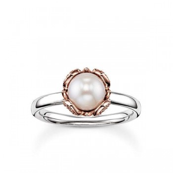 Thomas Sabo pearl ring lotus flower Women Rings J_TR0004-734-14