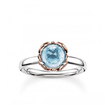 Thomas Sabo solitaire ring blue lotus flower Women Rings J_TR0003-763-31