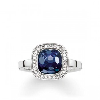 Thomas Sabo solitaire ring dark-blue Cosmo Women Rings TR2029-050-1