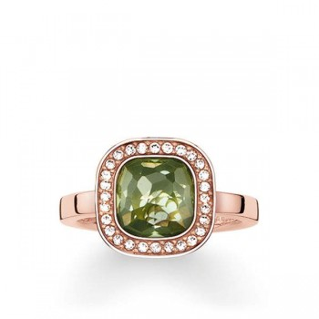 Thomas Sabo solitaire ring green Cosmo Women Rings TR2029-635-6