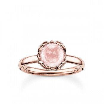 Thomas Sabo solitaire ring pink lotus flower Women Rings J_TR0003-754-9