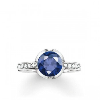 Thomas Sabo solitaire ring Signature Line dark blue pavé small Women Rings TR2035-050-32