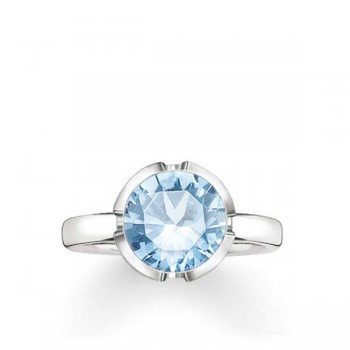 Thomas Sabo solitaire ring Signature Line light blue large Women Rings TR2036-009-31