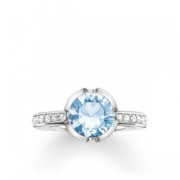 Thomas Sabo solitaire ring Signature Line light blue pavé small Women Rings TR2035-059-31