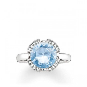 Thomas Sabo solitaire ring Signature Line light blue pavé Women Rings TR2038-059-31