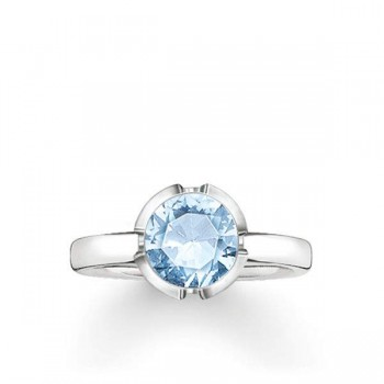 Thomas Sabo solitaire ring Signature Line light blue small Women Rings TR2034-009-31