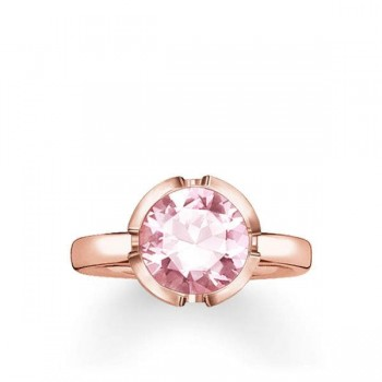 Thomas Sabo solitaire ring Signature Line pink large Women Rings TR2036-540-9