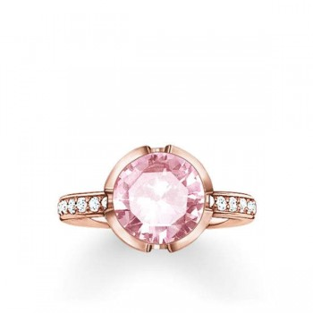 Thomas Sabo solitaire ring Signature Line pink pavé large Women Rings TR2037-633-9