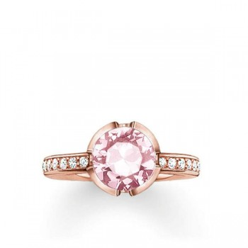 Thomas Sabo solitaire ring Signature Line pink pavé small Women Rings TR2035-633-9