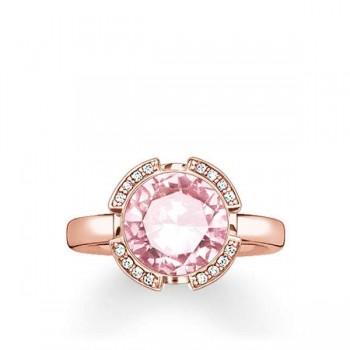 Thomas Sabo solitaire ring Signature Line pink pavé Women Rings TR2038-633-9