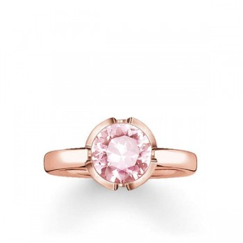 Thomas Sabo solitaire ring Signature Line pink small Women Rings TR2034-540-9